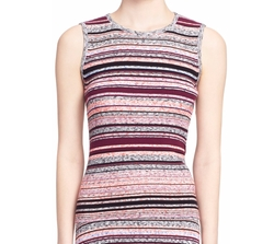 Ash Stripe Sleeveless Ribbed Top by Tanya Taylor in Arrow
