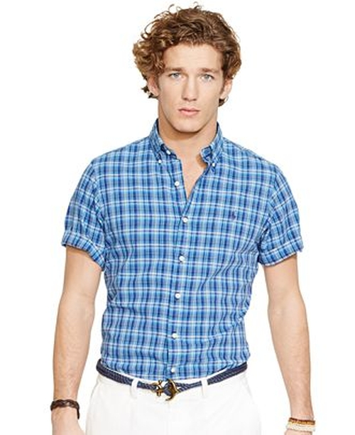 Short-Sleeved Plaid Poplin Shirt by Polo Ralph Lauren in Mission: Impossible - Rogue Nation