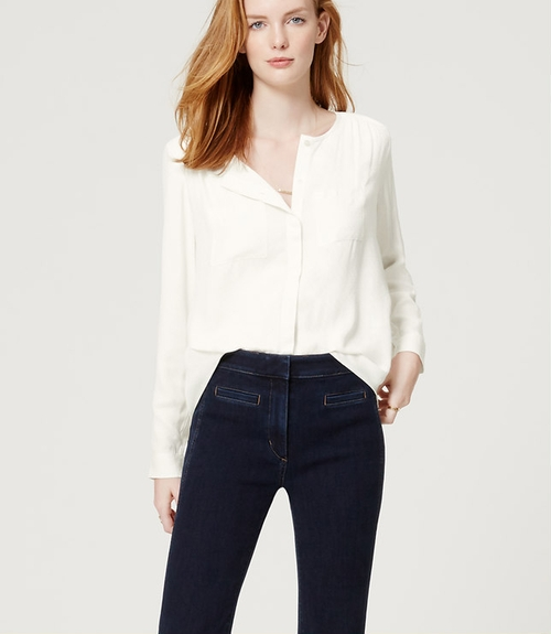 Collarless Utility Blouse by Loft in The Forest