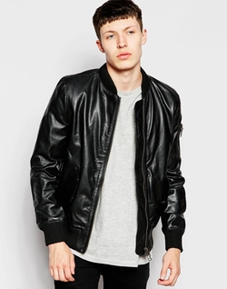 Bellfield Leather Bomber Jacket by Asos in Scandal
