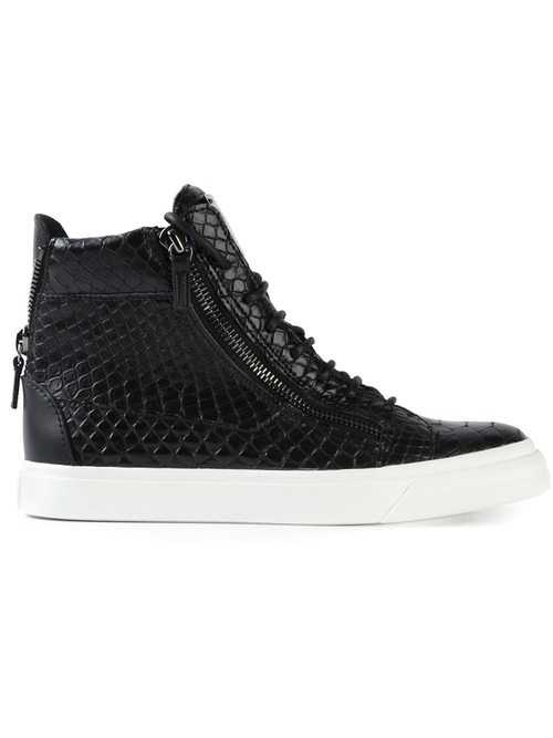 Embossed Crocodile Hi Top Sneakers by Giuseppe Zanotti Design in Ballers