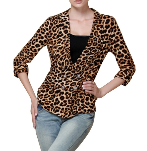 Leopard Casual Work Blazer by Idlis in Clueless