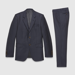 Marseille Striped Wool Suit by Gucci in Rosewood