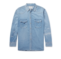 Oversized Distressed Denim Western Shirt by Saint Laurent in Empire