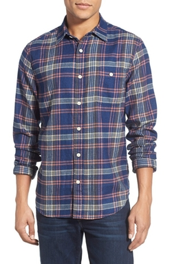 Seaview Regular Fit Plaid Sport Shirt by Faherty in Blow
