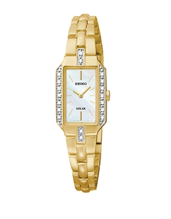 Goldtone And Diamond Solar Watch by Seiko in Supergirl