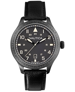 Men's Black Leather Strap Watch by Nautica in Blackhat