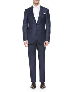 Trofeo Wool Tonal-Check Suit, Navy by Ermenegildo Zegna in Ted 2