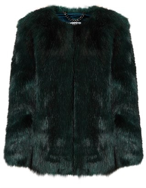 Emerald Green Faux Fur Coat by THP Shop in Scream Queens - Season 1 Episode 11