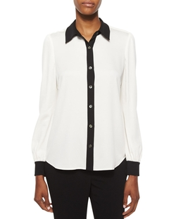 Mariah Contrast-Trim Silk Blouse by Diane von Furstenberg in Black-ish