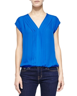 Marcher Pintucked Cap-Sleeve Blouse by Joie in Modern Family
