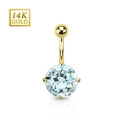 Topaz Gemstone Round Navel Ring by West Coast Jewelry in Entourage