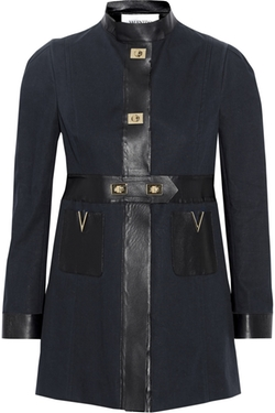 Faux Leather-Trimmed Cotton-Poplin Coat by Valentino in The Mindy Project