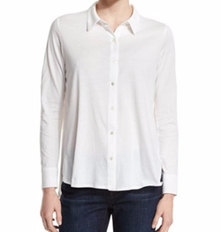 High-Low Button-Front Shirt by Eileen Fisher in Mr. Robot