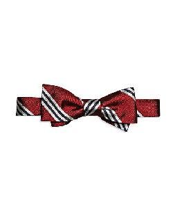 The Great Gatsby Collection Burgundy and White BB#1 Stripe Bow Tie by Brooks Brothers in The Great Gatsby
