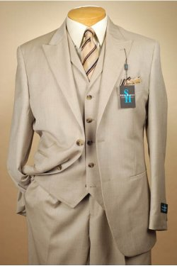 Button 3 Piece Beige Men's Suit by Steve Harvey in Anchorman 2: The Legend Continues