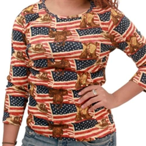 American Flag Cowboy print ladies top by Theflagshirt in Tammy