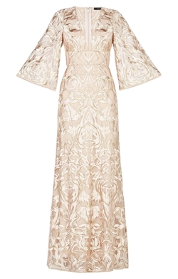 Raylan Deep-V Metallic Floral Embroidered Gown by BCBGMAXAZARIA in The Flash