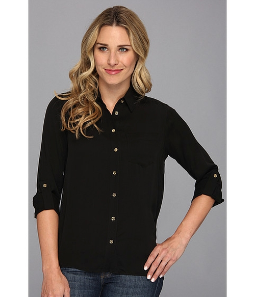 Hi Low Button Down Shirt by Michael Kors in Blackhat