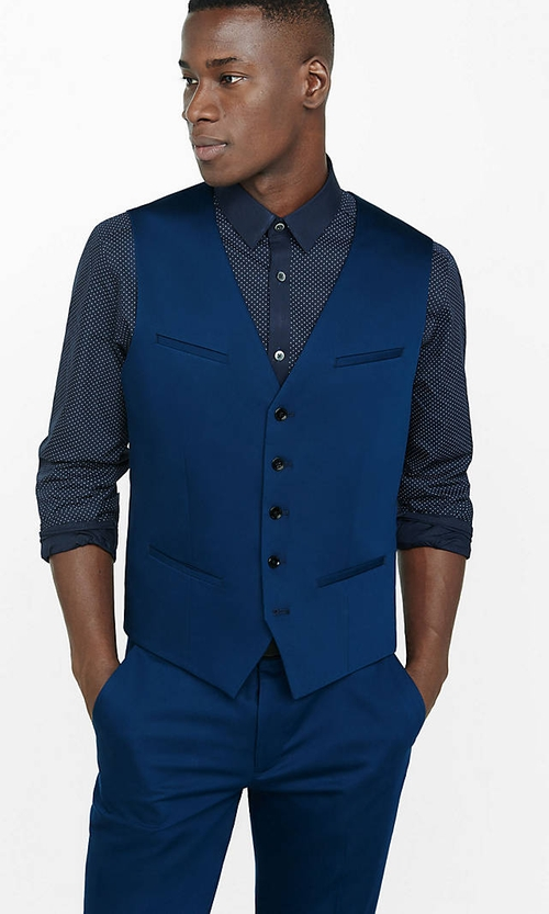 Cotton Sateen Navy Blue Vest by Express in Fifty Shades of Black
