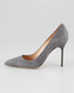 BB Suede Pointed-Toe Pumps by Manolo Blahnik in Suits