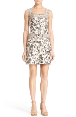 Botanical Print Mikado Apron Dress by Tory Burch in Vinyl
