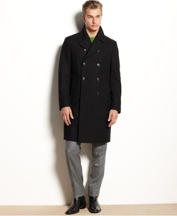 Egan Double-Breasted Over Coat by Kenneth Cole New York in Elf