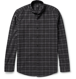 Cutaway-Collar Checked Cotton-Flannel Shirt by Hugo Boss in Scandal