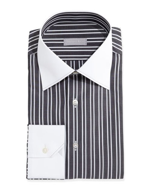 Contrast-Collar Thick-Stripe Dress Shirt by Stefano Ricci in Crazy, Stupid, Love.