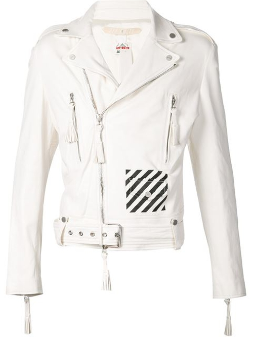 Striped Logo Print Biker Jacket by Off-White in Empire