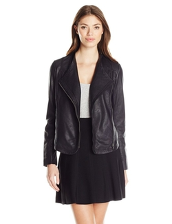 Women's Leather Draped Jacket by Lucky Brand in Rosewood