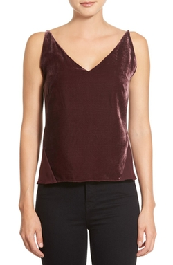 'Lucy' Velvet Front Camisole by J Brand Ready-To-Wear in Arrow