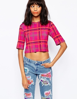 Plaid Crop T-Shirt by House of Holland in Scream Queens
