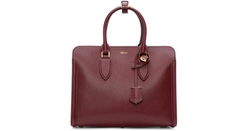 Burgundy Leather Heroine Tote Bag by Alexander McQueen in Suits