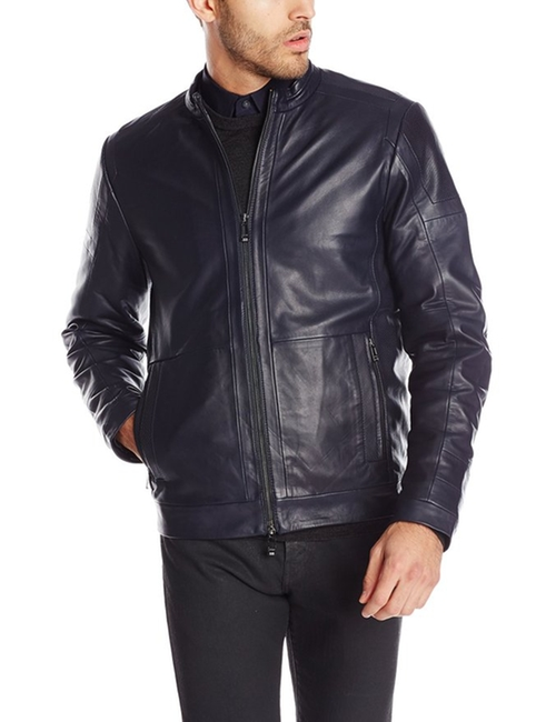 Men's Premium Leather Moto Jacket by Calvin Klein  in Blow
