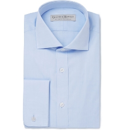 Cotton-Poplin Spread-Collar Shirt by Gieves & Hawkes in Self/Less