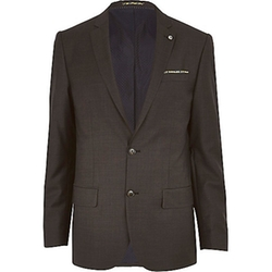 Dark Grey Slim Suit Jacket by River Island in Elementary