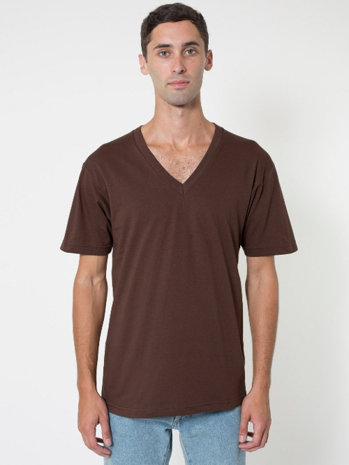 Short Sleeve V-Neck T-Shirt by American Apparel in Max