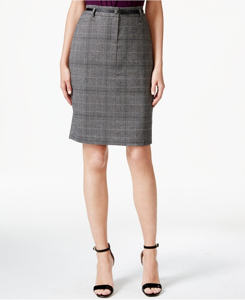 Woven-Plaid Pencil Skirt by Calvin Klein in The Good Wife - Season 7 Episode 8