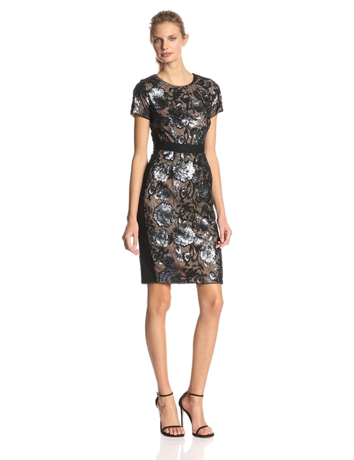 Kristan Short-Sleeve Sheath Dress by BCBGMAXAZRIA in Trainwreck