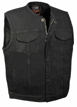 Collarless Denim Vest by Milwaukee Leather in The Gunman