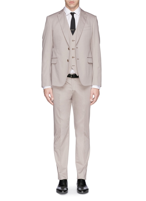 Cotton Blend Three-Piece Suit by Armani Collezioni in Empire