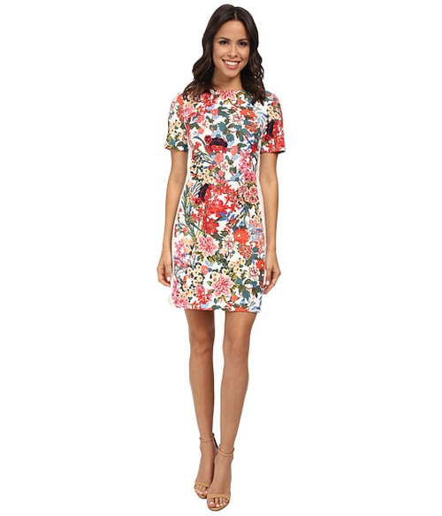 Painted Print Sheath Dress by Adrianna Papell in Rosewood - Season 1 Episode 3