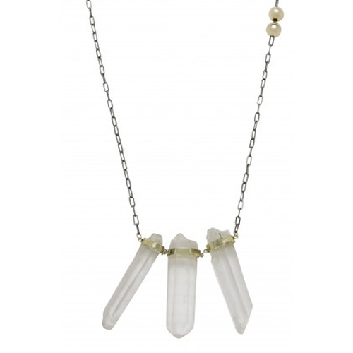 Two Toned Vertical Stick Necklace by Flaca Jewelry in The Vampire Diaries - Season 7 Episode 2