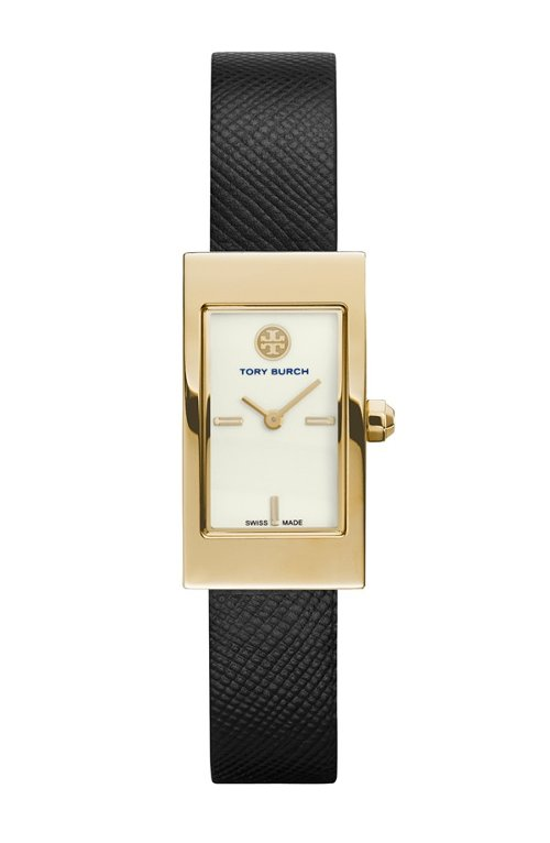 Buddy Signature Rectangular Leather Strap Watch by Tory Burch in Hall Pass