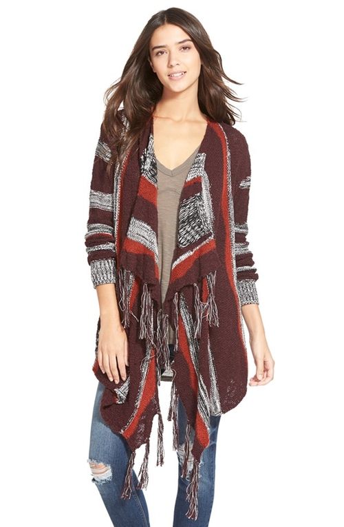 Intarsia Stripe Blanket Cardigan by Sun & Shadow in Modern Family - Season 7 Episode 9