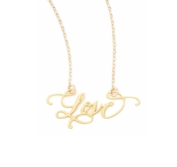 Love Hand-Calligraphed Necklace by Brevity in Logan Lucky