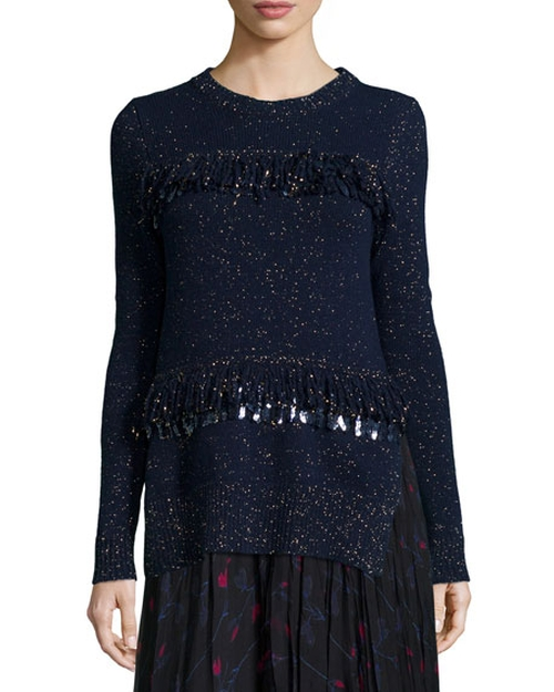Sequined Fringe Shimmer Sweater by Thakoon in Pretty Little Liars - Season 7 Episode 2