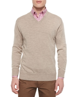 Merino V-Neck Sweater by Peter Millar in Guilt