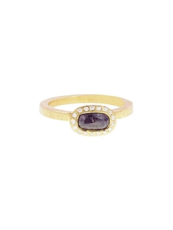 Small Oval Black Diamond Solitaire In Yellow Gold Ring by Todd Reed in Scream Queens